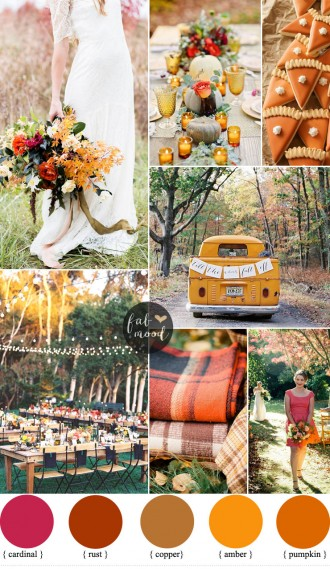 Bold and Colorful Fall Wedding in Amber,cardinal , pumpkin and rust   fabmood.com