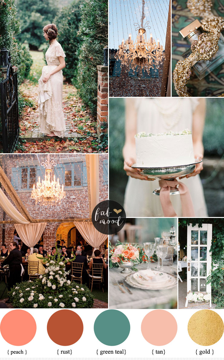 Peach and Teal Autumn secret garden wedding theme ideas