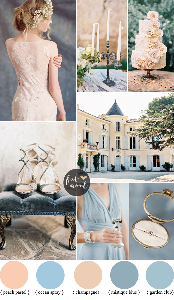cc82537d891 Romantic Provencal Wedding Inspiration In Champagne Peach And Shades Of Blue