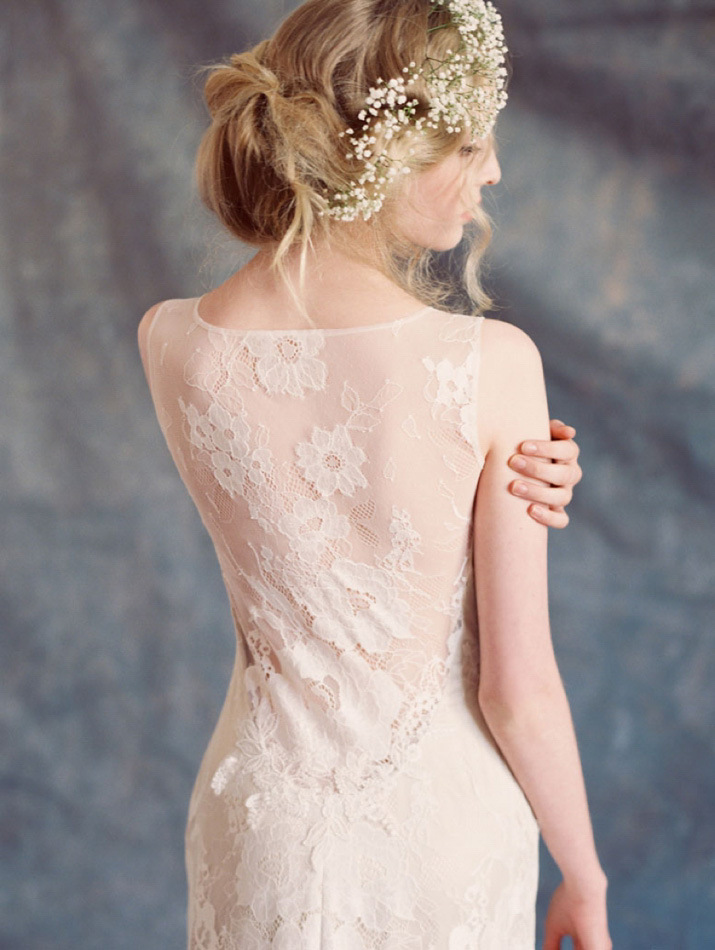 wedding dress from romantique collection - Claire Pettibone | Romantic Provencal Wedding Inspiration In Champagne Peach And Shades Of Blue | fabmood.com