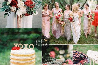 Rustic Glam Fall Wedding Mismatched Neutral Bridesmaid dresses with teal + red +dark red and gold | fabmood.com