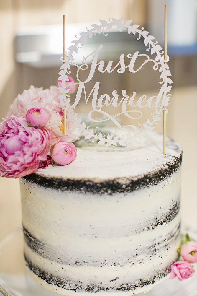 Semi Naked Wedding Cake with just married cake topper