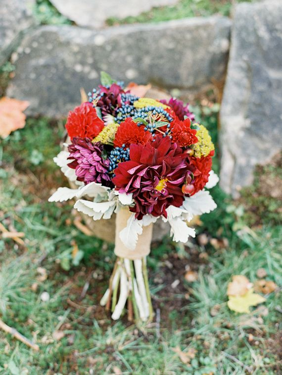 Photographed by Reid Lambshead -whenhefoundher.com | fall wedding bouquet roses wedding bouquets