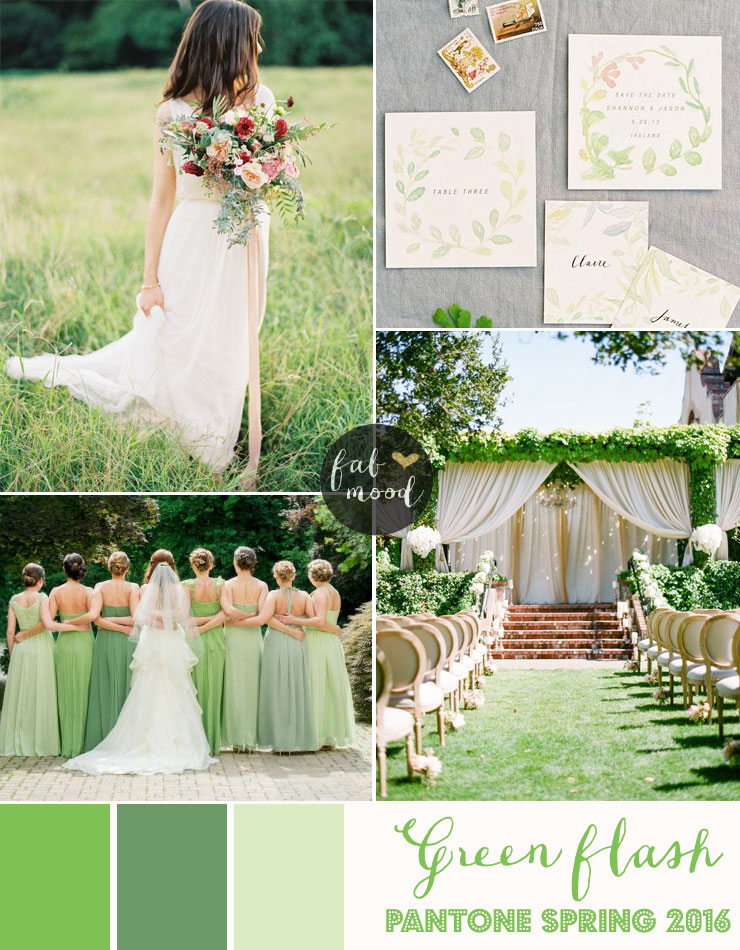 Green flash wedding theme pantone spring 2016 Wedding dress themes 2018