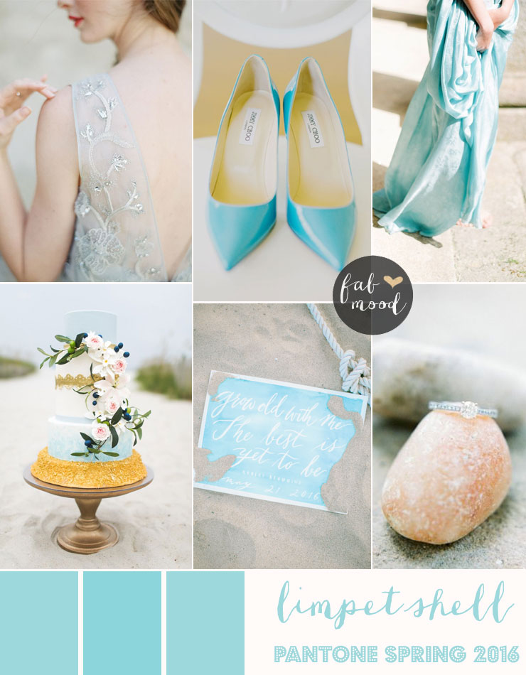 Limpet Shell shades of turquoise Wedding Theme { Pantone Spring 2016 } https://www.fabmood.com/limpet-shell-shades-of-turquouise-wedding-theme/ #turquoise #beachwedding