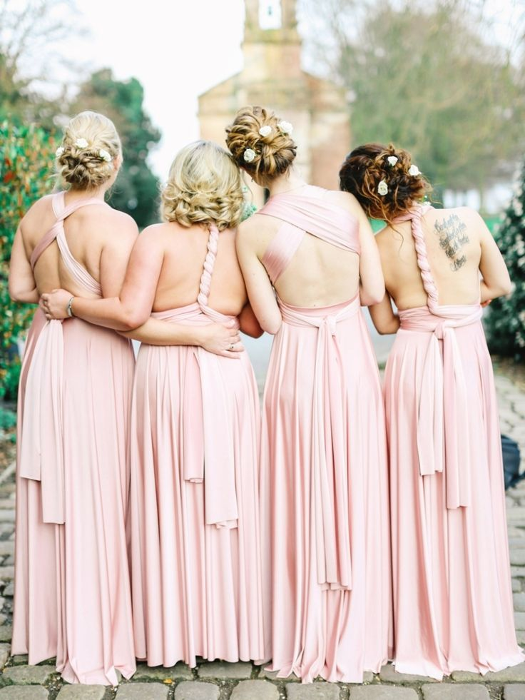 one shoulder peach bridesmaid dresses