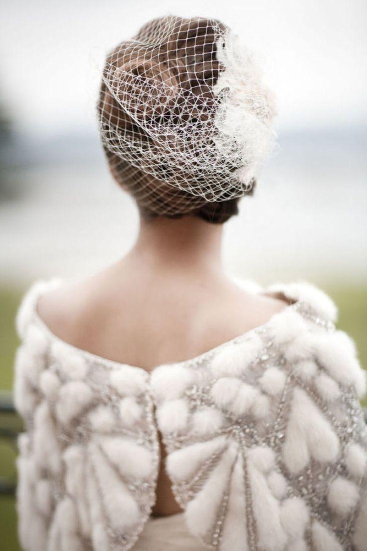 Bridal wrap and birdcage veil | photography : aarondelesie.com/ | Creative ideas for something borrowed | fabmood.com
