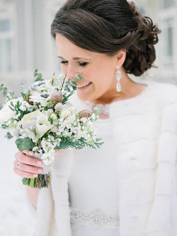 Bride in the snow | Light Blue Winter Wedding Read more Real Winter Weddings | fabmood.com #winterwedding