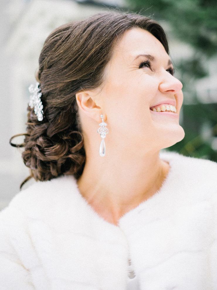 Bridal hairstyle | Light Blue Winter Wedding Read more Real Winter Weddings | fabmood.com #winterwedding
