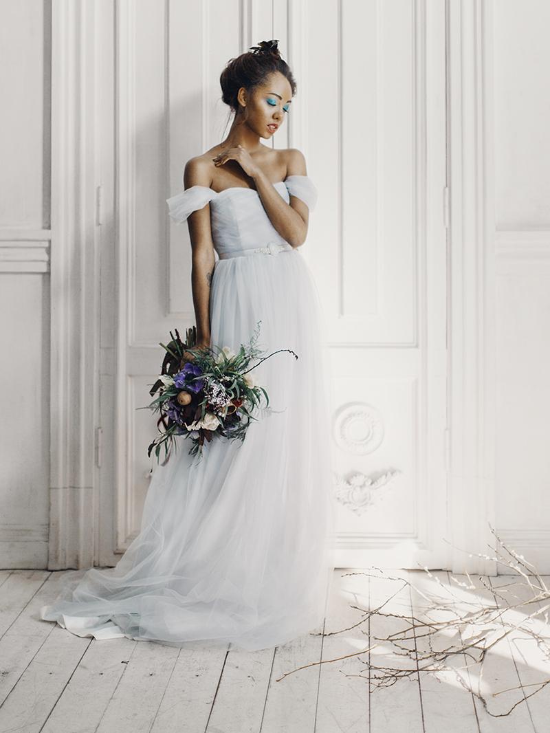 Off the shoulder wedding dress , tulle wedding dress, Romantic Light Blue Wedding Dress For A Whimsical Bridal Portraits #bridalportraits #blueweddingdress