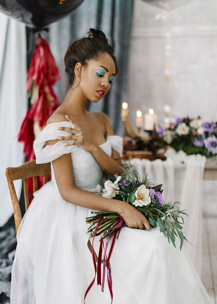 Feminine and romantic wedding inspiration { bluish grey wedding dress } fabmood.com #weddinginspiration