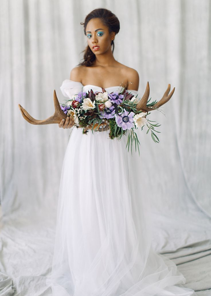 Romantic And Feminine Bridal Inspiration { bluish grey wedding dress } fabmood.com #weddinginspiration