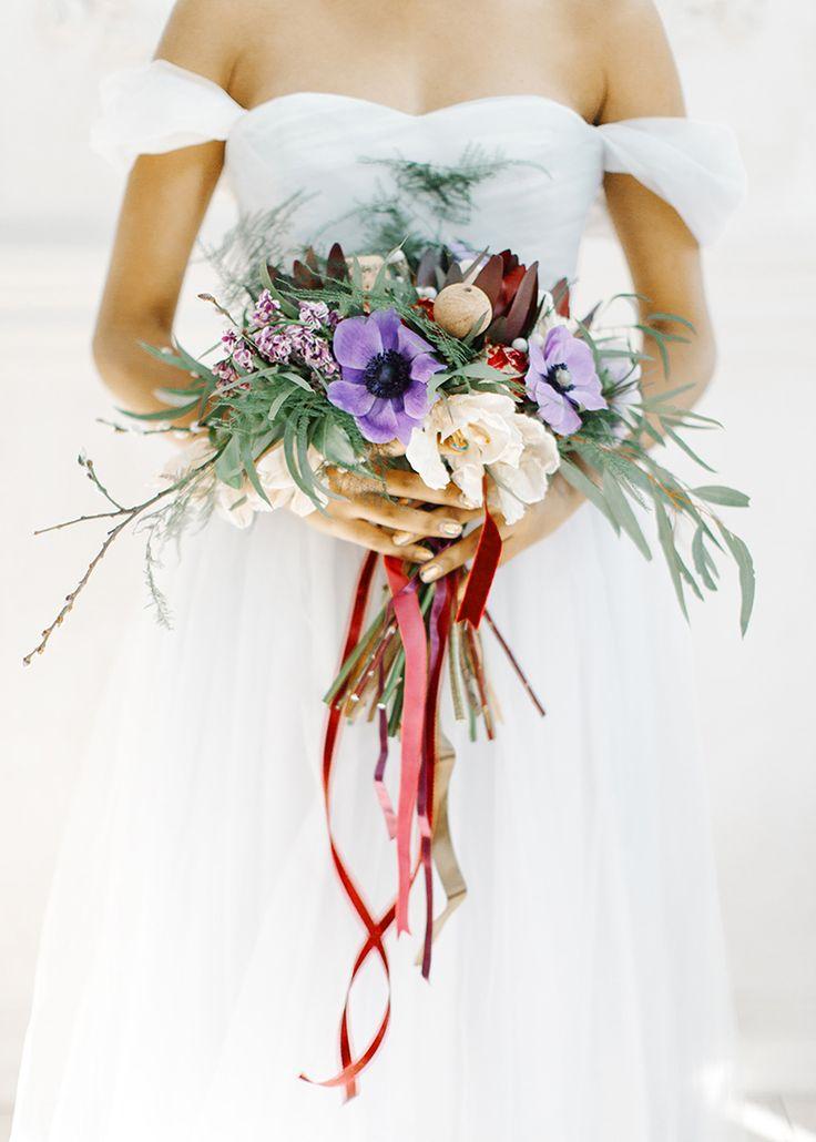 Off the shoulder wedding dress - feminine and romantic Bridal Inspiration { bluish grey wedding dress } fabmood.com #weddinginspiration