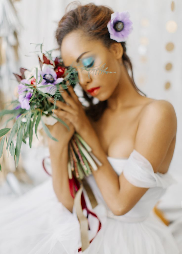 Feminine and romantic Bridal Inspiration { bluish grey wedding dress } fabmood.com #weddinginspiration