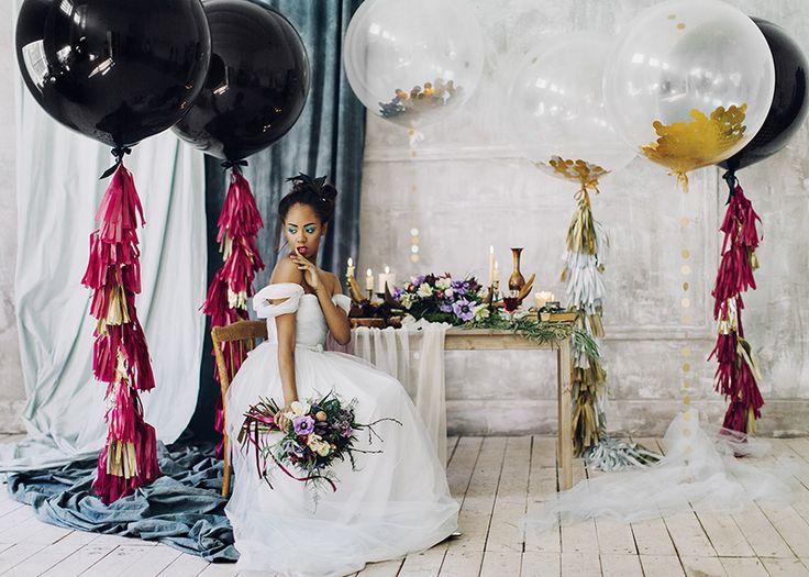 Black giant balloons - Romantic Light Blue Wedding Dress For A Whimsical Bridal Portraits #bridalportraits #blueweddingdress