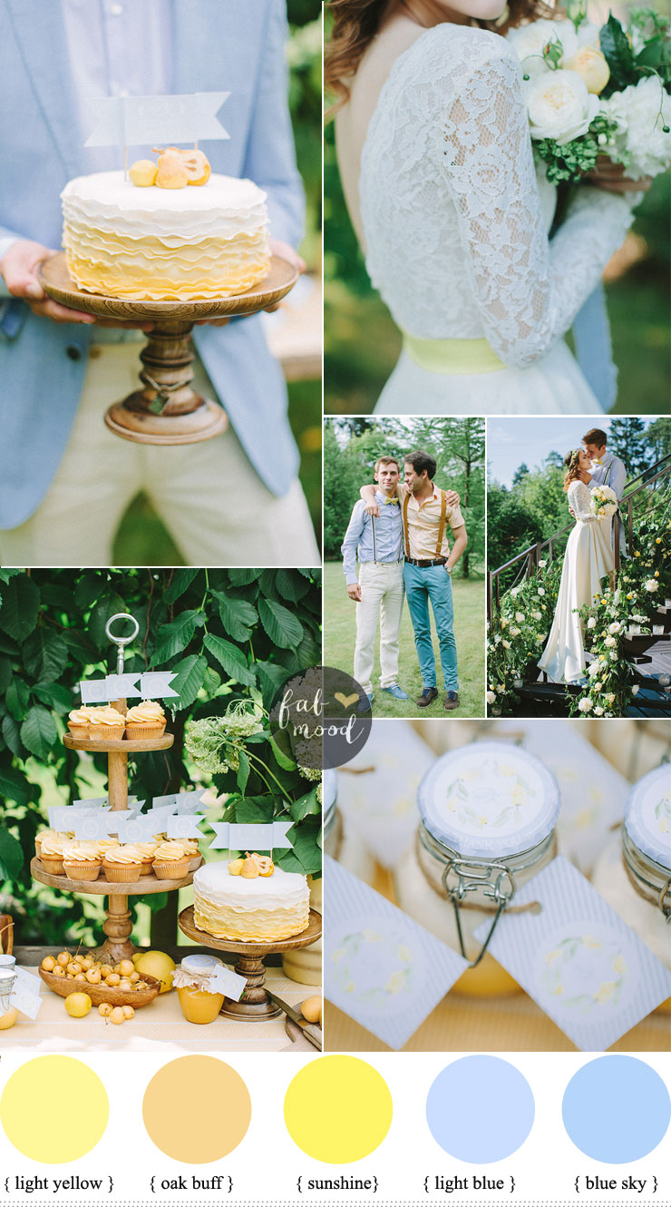 Blue and yellow wedding color schemes { garden wedding }