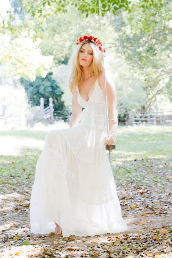 Grace Loves Lace an empire waist gown - bohemian style wedding gown | fabmood.com