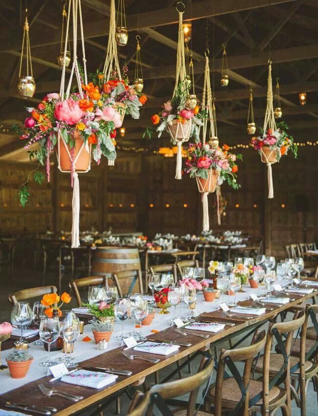Pots of wildflowers on the tables - boho wedding | fabmood.com
