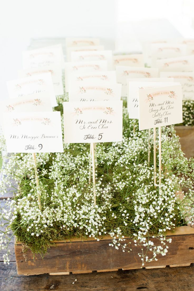 Baby's Breath Escort Card Display | fabmood.com