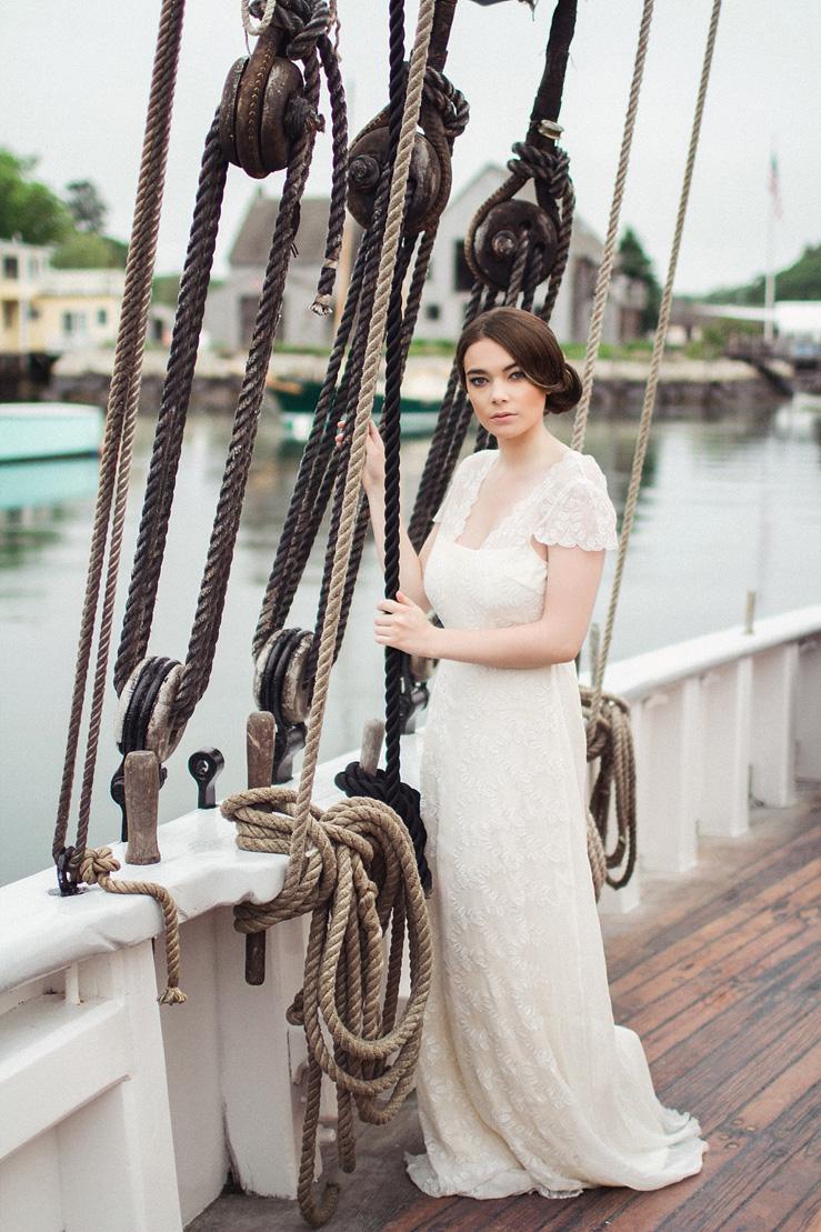 Short sleeves wedding gown from Saja Wedding - Nautical Wedding Inspiration shoot | justinabilodeauphotography.com | #weddinginspiration on fabmood.com