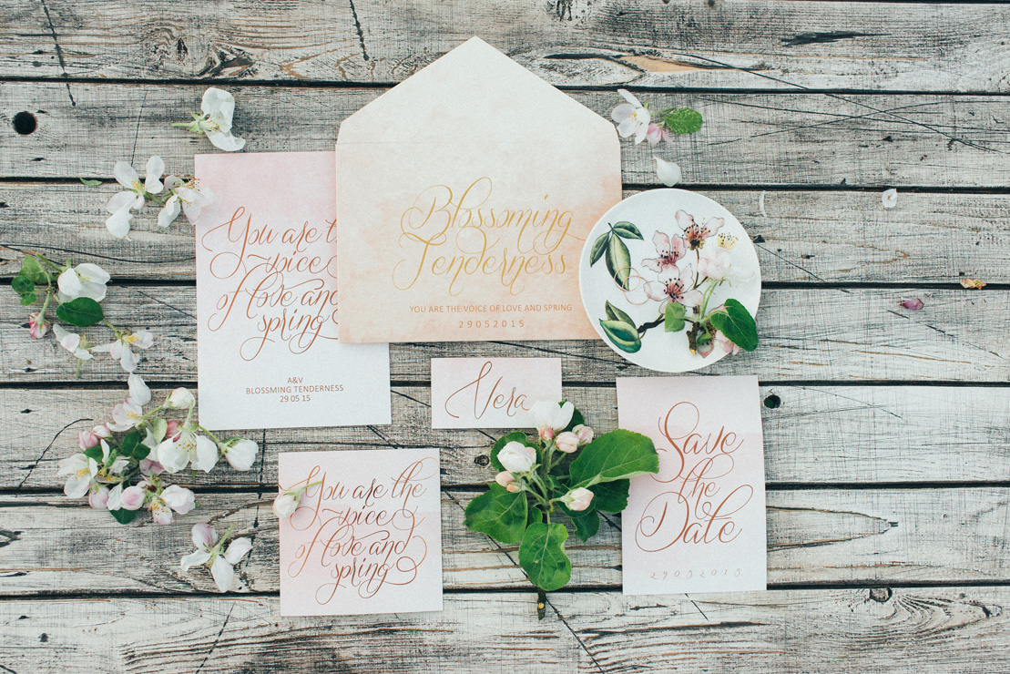 Calligraphy watercolor wedding invitation | Romantic Ethereal wedding inspiration { Fresh and Subtle Shades } Photography : pshefter.com | read more on fabmood.com #weddinginspiration :