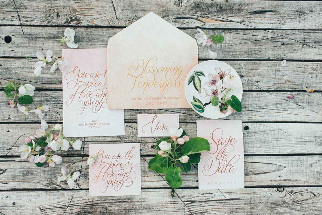 Calligraphy watercolor wedding invitation | Romantic Ethereal wedding inspiration { Fresh and Subtle Shades } Photography : pshefter.com | read more on fabmood.com #weddinginspiration :