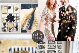 New Year's Eve Wedding Colours { Black Gold and White } fabmood.com #black #newyearsevewedding