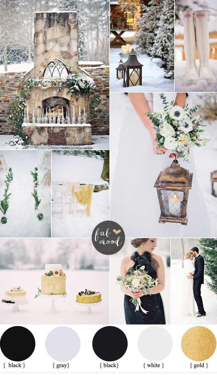 Outdoor winter wedding black and gold wedding colors for Winter wedding color palettes