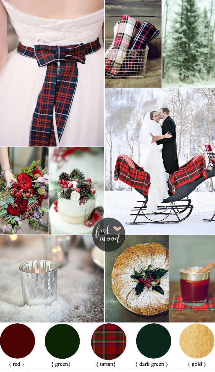 Red and Green Winter Wedding With Rich Tartans