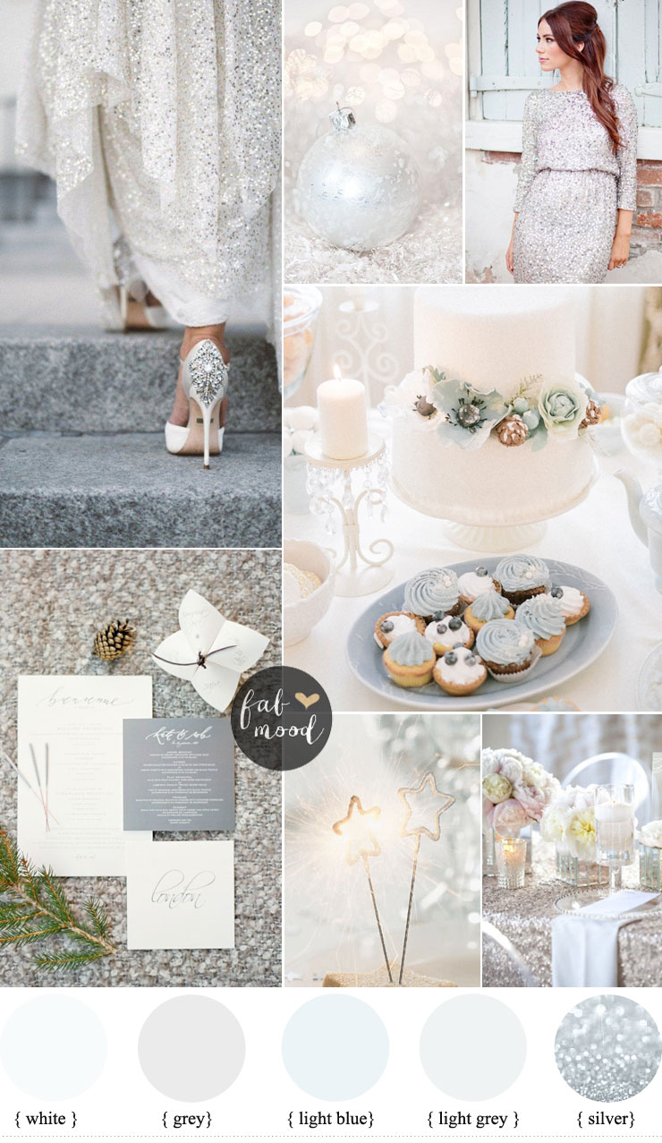 White Winter wedding and sequin silver For A Glamorous Winter