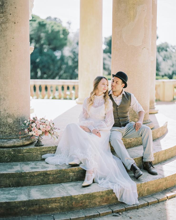 bride and groom vintage inspired wedding ideas | Barcelona Destination Wedding Inspiration at The Labyrinth Park from kseniyabunets.com | Read #weddinginspiration full post on fabmood.com