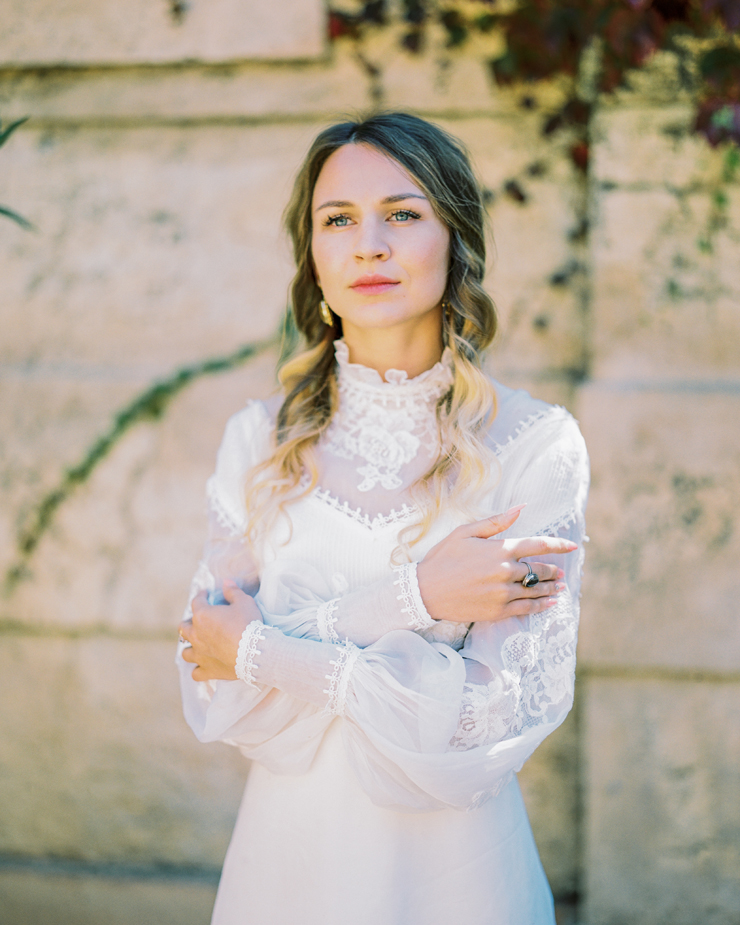 high neck wedding dress with long sleeves | Barcelona Destination Wedding Inspiration at The Labyrinth Park from kseniyabunets.com | Read #weddinginspiration full post on fabmood.com