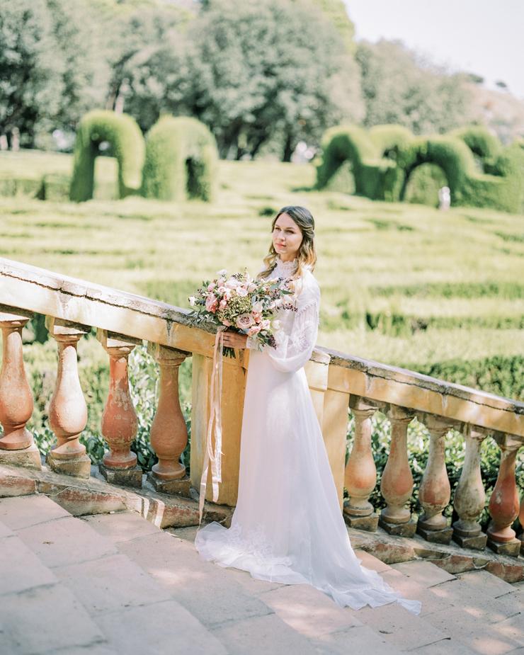 long sleeves wedding dress | Barcelona Destination Wedding Inspiration at The Labyrinth Park from kseniyabunets.com | Read #weddinginspiration full post on fabmood.com