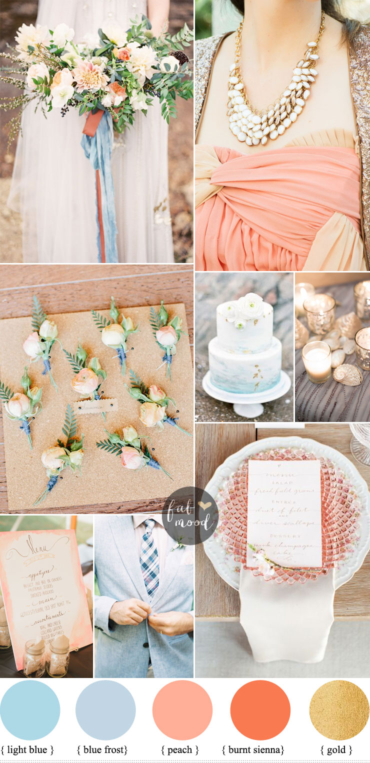 Beach wedding inspiration { Light blue & Peach + Jenny Packham Wedding Dress } fabmood.com
