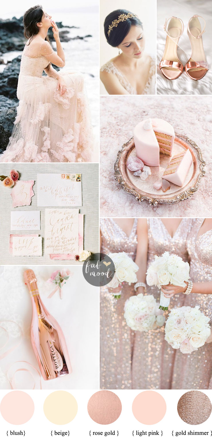 Blush pink wedding theme 36 pretty blush pink color for Pink and gold wedding dress