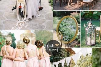 Intimate garden wedding + pink twist wrap bridesmaid dresses   fabmood.com