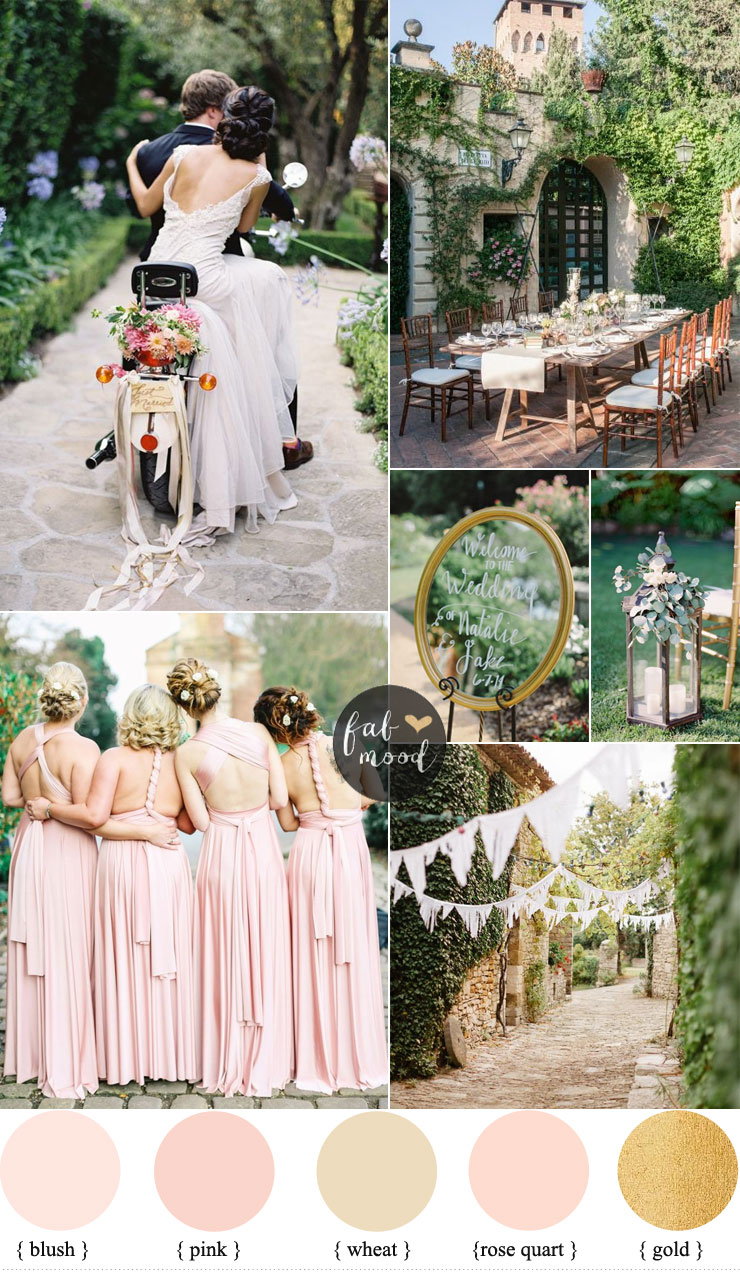 Intimate garden wedding + pink twist wrap bridesmaid dresses | fabmood.com