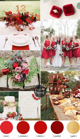 Red wedding theme for classic brides | red bridesmaid dresses | see this red wedding ideas on fabmood.com