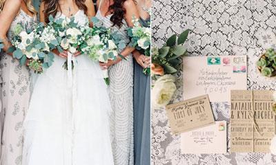 platinum slate gray and green wedding