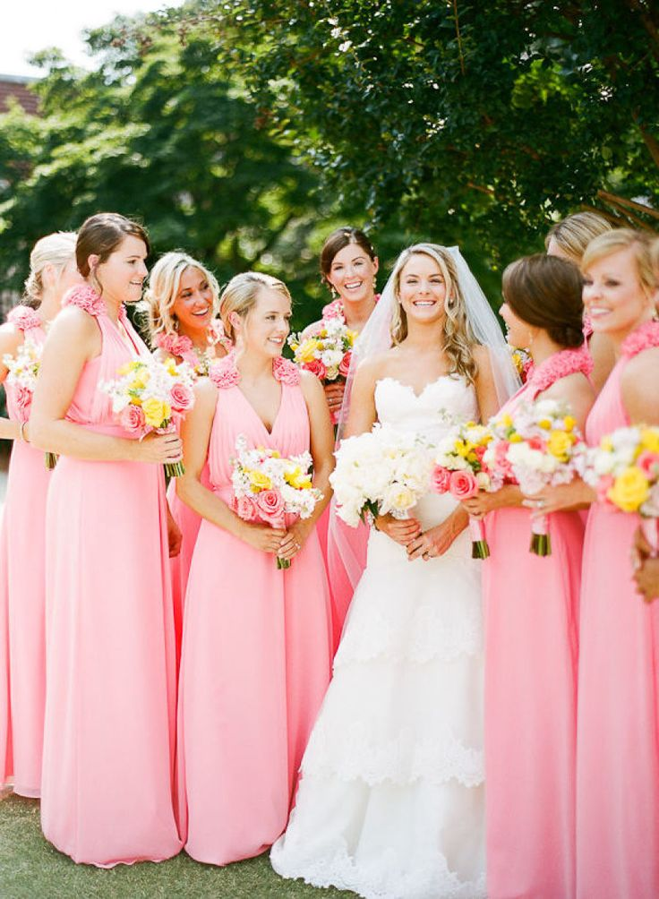 spring bridesmaid dresses paired with yellow bouquets