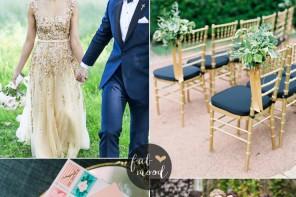 Apricot wedding colors with Gold + Cadet blue + Dark Blue and Royal Blue, apricot wedding shoes | fabmood.com