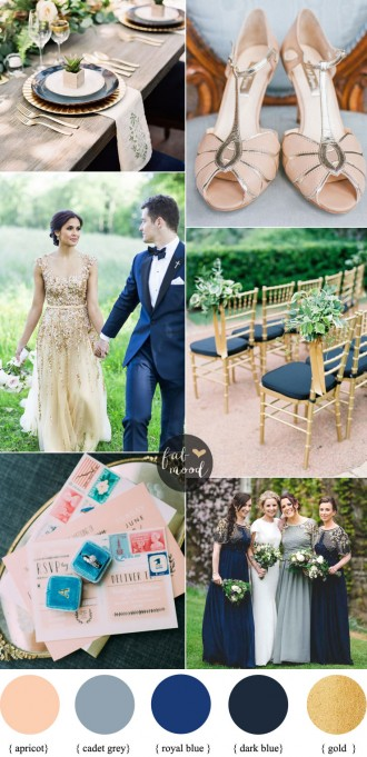 Apricot wedding colors with Gold + Cadet blue + Dark Blue and Royal Blue, apricot wedding shoes | fabmood.com