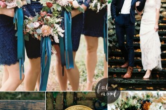 Autumn wedding colors with blue and teal color palette | Read more on Fab Mood - fabmood.com