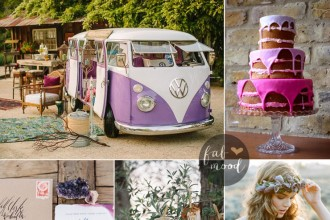 Bohemian Wedding Inspiration In Romantic Shades of Purple { Iavender + lilac + indigo + red violet and pearly purple } Fab Mood - UK Wedding Blog