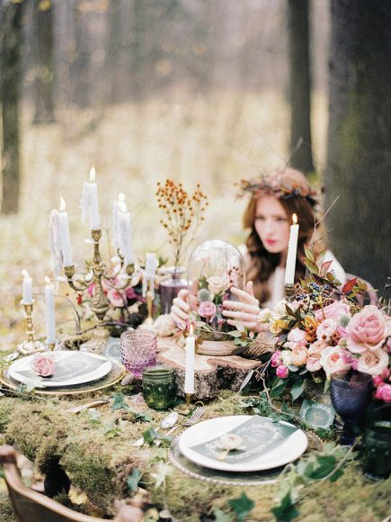 Woodland wedding table setting ideas - Enchanted Forest Fairytale Wedding in Shades of Autumn | fabmood.com