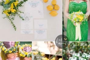Kelly green and yellow wedding + 34 sleeve wedding dress lace | kelly green bridesmaid | fabmood.com