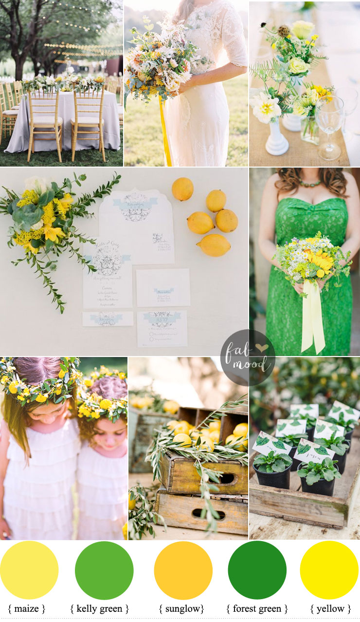 Kelly green and yellow wedding + 34 sleeve wedding dress lace | kelly green bridesmaid | fabmood.com