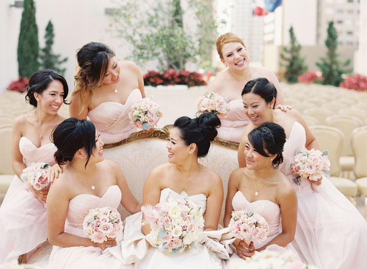 Marie Antoinette themed Wedding + An Elegant Kenneth Poole Wedding Dress | Blush bridesmaid dresses by Ivy & Aster | Fab Mood