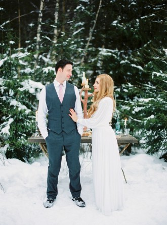 Narnia Inspired Winter Wedding Inspiration - winter wedding dress | Yaroslav and Jenny Photography | Read more on fabmood.com