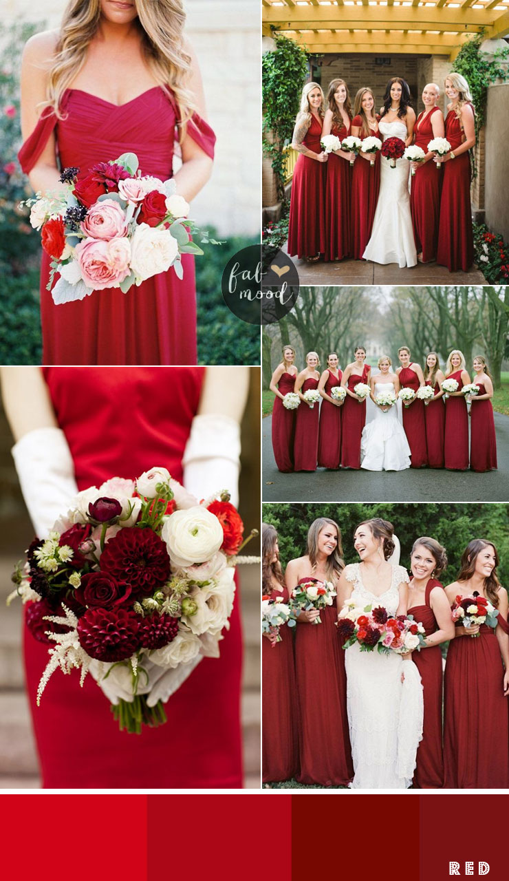 Bridesmaids Dresses By Colour And Theme That Could Work For Red Neato Wedding